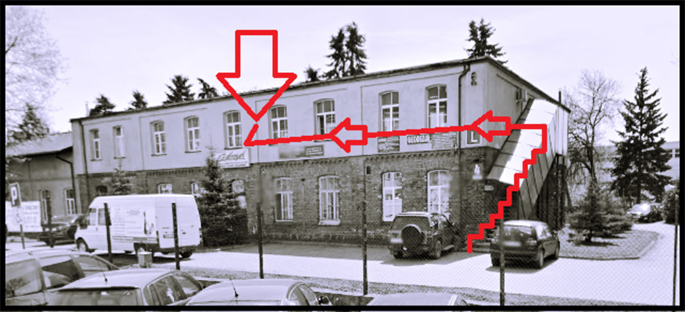 Instrukcja wejścia do biura firmy GEOprecyzja